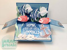 Juan Ambida Independent Stampin' Up!® Demonstrator Australia: Seaside Shore card in a box Fun Fold Cards, Cool Cards, Youtube Birthday, Pop Up Box Cards, Card Boxes, Fathers Day Cards, Craft Box, Stamping Up, Stampin Up Cards