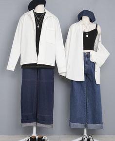 Korean Street Fashion, Korea Fashion, Asian Fashion, Matching Couple Outfits, Fashion Couple, Korean Outfits, Fashion Outfits, Womens Fashion, Aesthetic Clothes