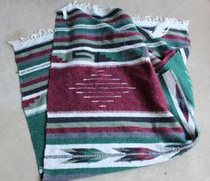 Vintage Mexican Blanket Green Maroon Gray Grey by QUIVERreclaimed