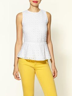 white eyelet peplum top with vibrant pants + red lipstick...