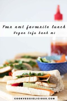 This tofu banh mi is my vegan version of the Vietnamese classic sandwich. Slices of marinated tofu, crunchy veggies, fresh chillies, plenty of coriander and spicy sauce all come together in a delicious crusty baguette for vegan lunch perfection. #banhmi #veganbanhmi #veganlunch #vegan #tofubanhmi Marinated Tofu, Vegan Lunches, Spicy Sauce, Vegan Treats, Plant Based Diet, Coriander, Baguette, Vegan Recipes, Veggies