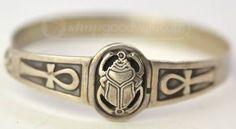 Scarab & Ankh Hook Eye Silver Bracelet