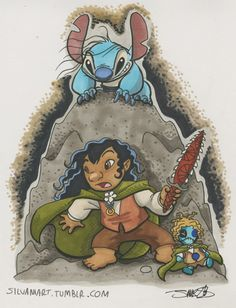 Hehe...Stitch as Gollum, love! Check out James Silvani's tumbler for some more great Disney mash-ups... especially if you have a soft spot for Stitch.