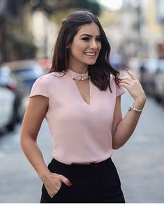 FeiTong Elegant hollow out pink blouse shirt women Short sleeve vintage pearls blouse V-neck summer top female casual blusas - Shirts & Tops, Shirt Blouses, Pink Blouses, Blouse Styles, Blouse Designs, Mode Shorts, Work Attire, Blouses For Women, Fashion Dresses