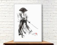 Bushido Way of the Samurai. Modern abstract style painting home decor. Watercolor Original Art. Calligraphy Japanese Ink Style.  Bushido original ink painting made with traditional tools on Fabriano Artistico Watercolor paper by me. Unframed. Signed. Certificate of authenticity included..  size (inch): 22.4 x 29.5 size (cm):57cm x 75cm artist: © Mariusz Szmerdt artist's signature: hanko (artists seal) type of painting: ink and watercolor type of paper: Fabriano Artistico Watercolor Paper…