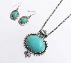 Large antique style turquoise stone pendant and earring set
