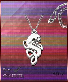 Axcesi 534T Dragon pendant  stainless steel 37x19mm   by Axcesi