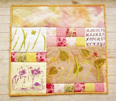 Art quilt wall hanging spring flowers narcissus patchwork textile art modern rustic yellow light pink green hand printed embroidered gift by poppyshome on Etsy