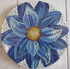 Tray - Lazy Susan - flower mosaic