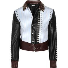 J.W.Anderson Stitched leather and twill bomber jacket ($573) ❤ liked on Polyvore