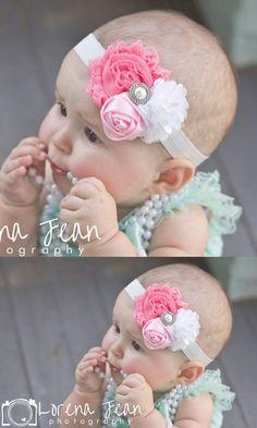 1 Pieces Newborn Baby Pearl Rose Flower Hair Band Baby Headband Ribbon Elasticity Hair Accessories Headwear W172