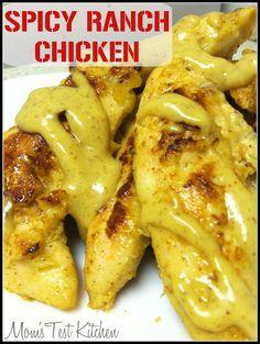 Spicy Ranch Chicken: 1lb chicken, 2/3c ranch dressing, 1/3c spicy brown mustard, 3T brown sugar.