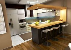 Simple kitchen room designs simple kitchen remodeling ideas with contemporary kitchen cabinets also kitchen design ideas Small Kitchen Bar, Galley Kitchen Design, Simple Kitchen Design, Kitchen Room Design, Contemporary Kitchen Design, Kitchen Cabinet Design, Kitchen Layout, Interior Design Kitchen, Kitchen Cabinets