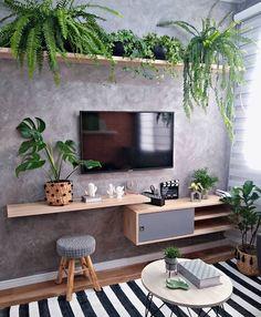 Home Decoration Design Ideas House Plants Decor, Living Room Tv, Decoration Table, Home Decor Inspiration, Home Remodeling, Diy Home Decor, Bedroom Decor, House Design, Tv Wall Design