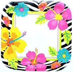 """Amazon.com: Custom & Unique {9"""" Inch} 8 Count Multi-Pack Set of Medium Size Square Disposable Paper Plates w/ Wild Hawaiian Flower & Safari Zebra Stripes """"Black, White, Pink, yellow & Teal Colored"""": Kitchen & Dining"""