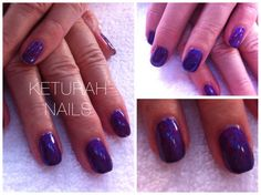 CND shellac in purple purple with red baroness moyou stamping. Gel nails.   @ Keturah Nails,  Princes Risborough, Bucks www.facebook.com/keturahnails