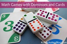 math games for kids that use dominoes and a deck of cards