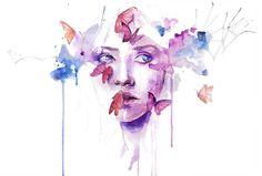 watercolor woman portrait face drip splash splatter ink spill ...