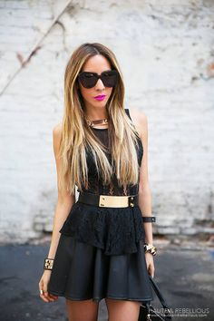 Black Peplum Top by Haute And Rebellious