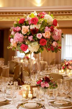 Tall, Elegant Pink Floral Centerpiece | Photo: Amanda Sudimack for Artisan Events. View More:  http://www.insideweddings.com/weddings/customized-chicago-wedding-with-pink-blush-marsala-color-palette/911/