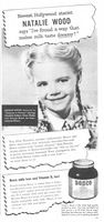 Bosco Chocolate Syrup, Natalie Wood 1946 Ad Picture