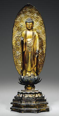 Just insane beauty and craftsmanship here...can hardly believe my eyes. GILT-WOOD FIGURE OF AMIDA BUDDHA, JAPAN, 19TH CENTURY
