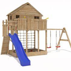 XXL Play Tower Tree House Stilt Kids Playhouse Sandpit + Slide + 2 Swings New