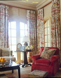 This picture is a great reminder to hang your curtains to the edge of the ceiling.    Sitting Area 4 CK SA 2003