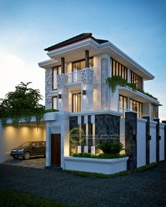 Fahmi Private House Design - Jakarta- Quality house design of architectural services, experienced professional Bali Villa Tropical designs from Emporio Architect. Modern Exterior House Designs, Design Exterior, Dream House Exterior, New Home Designs, Modern House Plans, Modern House Design, Design Lounge, Design Loft, Style At Home