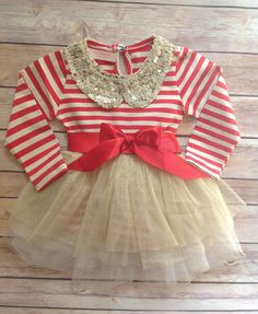 Red Gold Toddler Baby Girl Dress, Birthday Outfit Girl, Baby Girl Toddler Christmas Outfit Dress, Vintage Dress