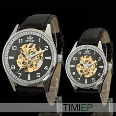 Couple's Black Leather Set 18K Yellow Gold Skeleton