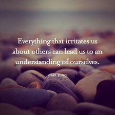 """Everything that irritates us about others can lead us to an understanding of ourselves."" Carl Jung"