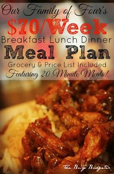 Budget meal plan for breakfast lunch and dinner for $70/week
