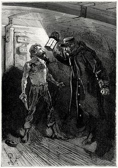 """""""What are you doing here?"""" said Bob Harvey.    Jules Férat, from L'île mystérieuse (The mysterious island), by Jules Verne, Paris, 1870."""