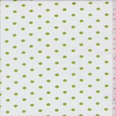 White/Green Dot Shirting - 29563 - Fabric By The Yard At Discount Prices - $3.95