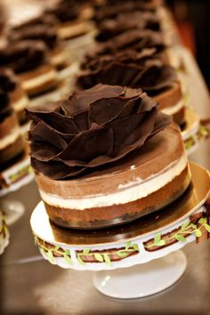 Individual table wedding cakes- Triple Chocolate Mousse from Costeaux in Healdsburg, Ca