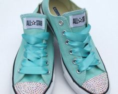 Converse Classic Low Top Swarovski Bling Chucks - Teal / Blue