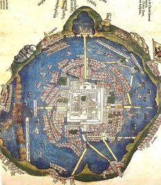 Carta dell'antica Tenochtitlan, (Città del Messico) Pianta della città di autore sconosciuto,1524 Newberry Library, Chicago.