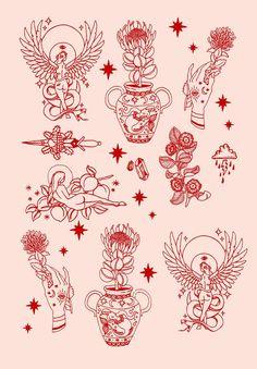 Tattoos And Body Art tatoo flash Flash Art Tattoos, Red Ink Tattoos, Body Art Tattoos, Tattoo Drawings, Tattoo Sketches, Arrow Tattoos, Ship Tattoos, Tatoos, Tattoo Flash Sheet