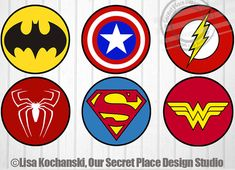 Printable Superhero Logo Symbols by OurSecretPlace Perfect for Superhero Capes, Party Signs, Treat Bags, Party Decorations, Classroom, or any Superhero Themed party.