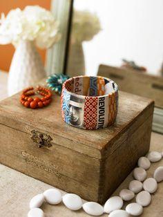 Rainy Day DIY: decoupaged cardboard tape roll bracelet (such a cool idea!)