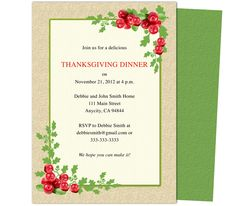 Thanksgiving : Cranberry Thanksgiving Party Invitation Template