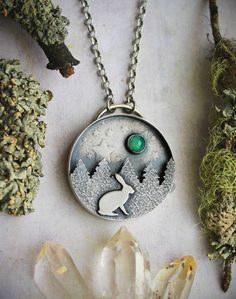 Rabbit and the Moon Shadow Box Necklace with by LaFreeBoheme
