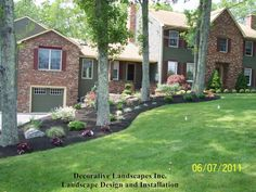 Front yard landscape construction photos, completed front yard landscaping construction project photos in MA. Love Home, Front Yard Landscaping, Curb Appeal, Future House, Beautiful Homes, Construction, Landscape Designs, Outdoor Structures, Mansions