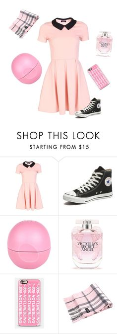 """Think Pink"" by jessicaitam ❤ liked on Polyvore featuring Converse, Eos, Victoria's Secret and Casetify"