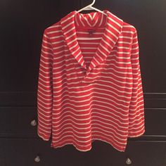 Dressy Sweatshirt Orange and white striped dressy sweatshirt. Looks great with a denim top underneath. Merona Sweaters