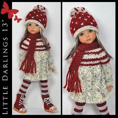 """Winter Outfit for Little Darlings Effner 13"""" by Maggie and Kate Create 