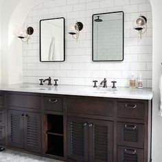 Looking for White Bathroom and Double Vanity Bathroom ideas? Browse White Bathroom and Double Vanity Bathroom images for decor, layout, furniture, and storage inspiration from HGTV. Bad Inspiration, Bathroom Inspiration, Upstairs Bathrooms, Small Bathroom, Master Bathrooms, Houzz Bathroom, Modern Bathroom, Ikea Bathroom, Wood Bathroom