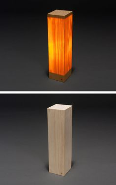 """Wood Block Lamp by McNabb & Co. Studio    Material: Pine veneer  Dimensions: 6"""" x 6.5"""" x 21""""    Thin wood veneers construct a hollow block with an interior mounted lighting fixture. A brass button activates the light."""