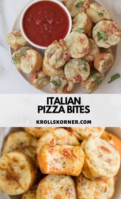 Italian Pizza Bites Italian Pizza Bites have all of the pizza flavors you love all in one (or two! They are the perfect way to transition your favorite Italian pizza into a fun finger-food snack. Yummy Appetizers, Appetizer Recipes, Snack Recipes, Cooking Recipes, Finger Food Recipes, Seafood Appetizers, Pizza Flavors, Pizza Recipes, Healthy Finger Foods